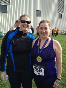Runners of White Pigeon Race Day - Sara and Chris w/ her medal!